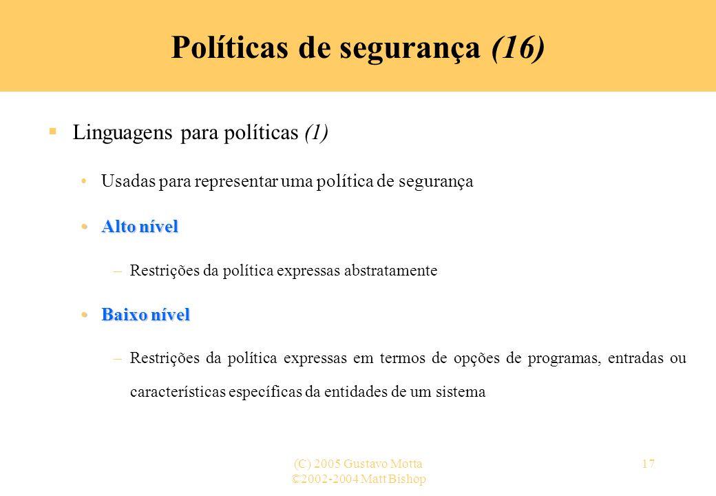 Políticas de segurança (16)