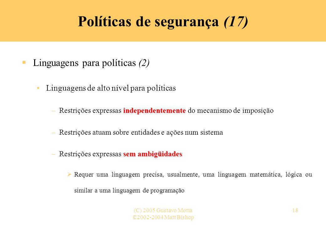 Políticas de segurança (17)