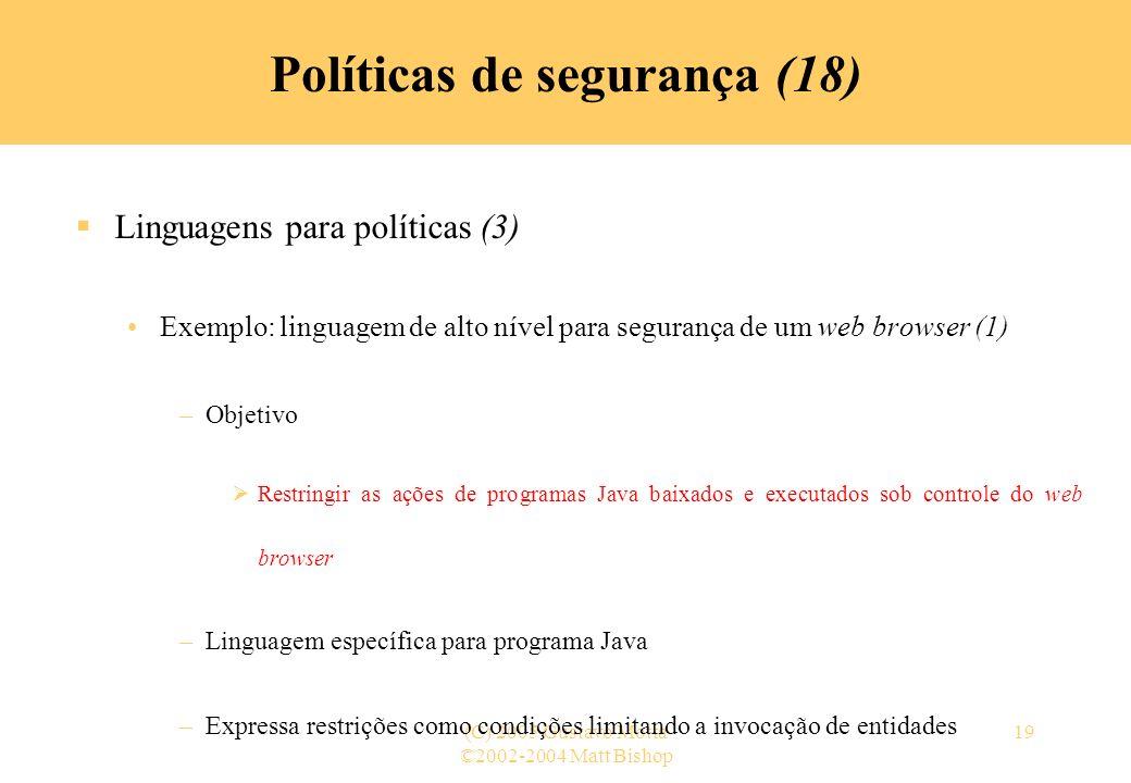 Políticas de segurança (18)