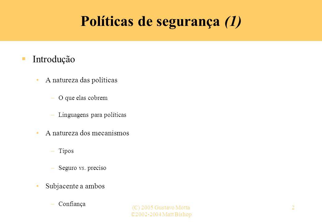 Políticas de segurança (1)