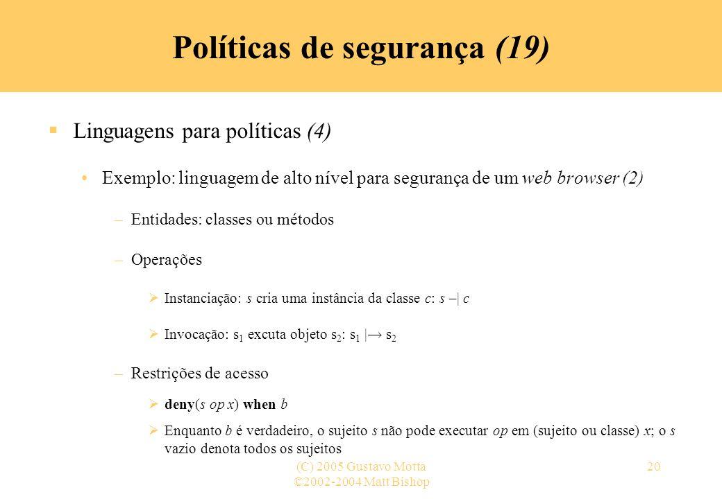 Políticas de segurança (19)