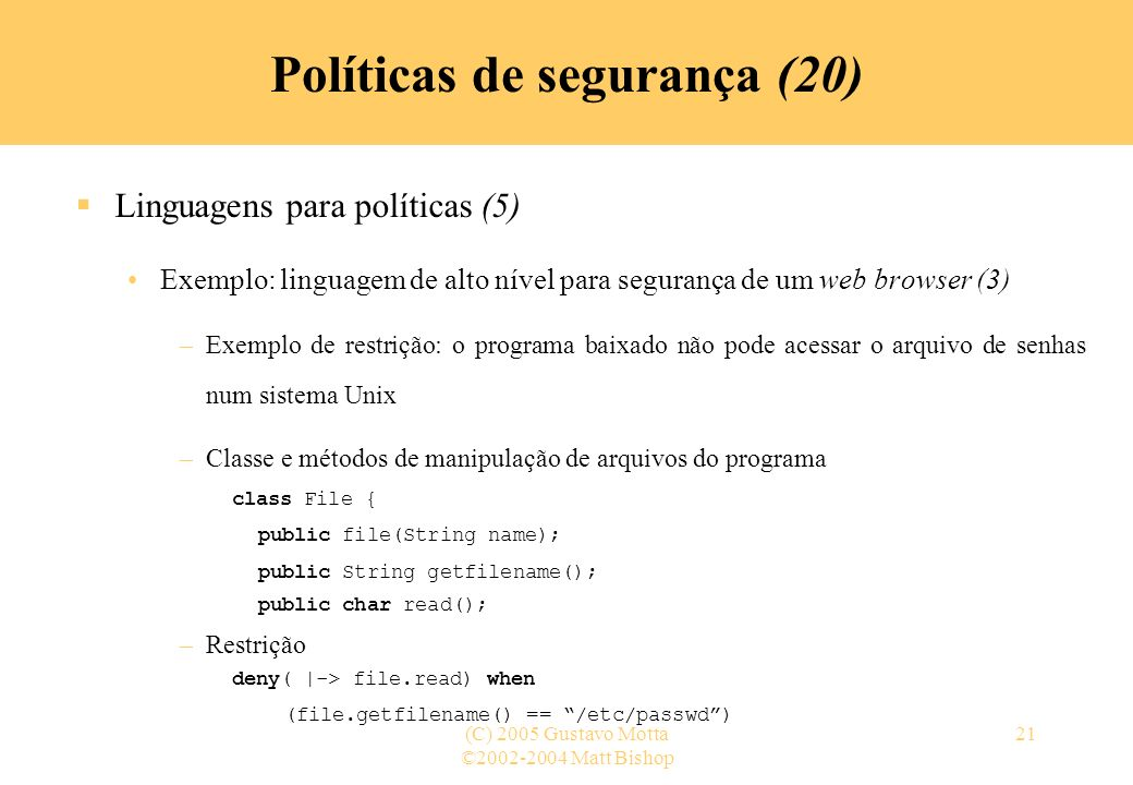 Políticas de segurança (20)