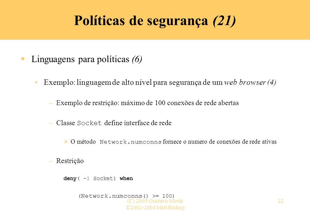 Políticas de segurança (21)