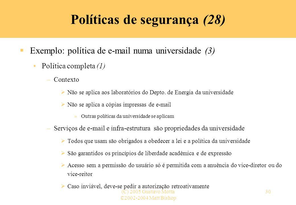Políticas de segurança (28)