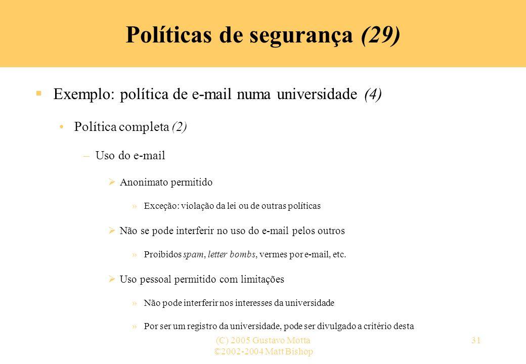 Políticas de segurança (29)