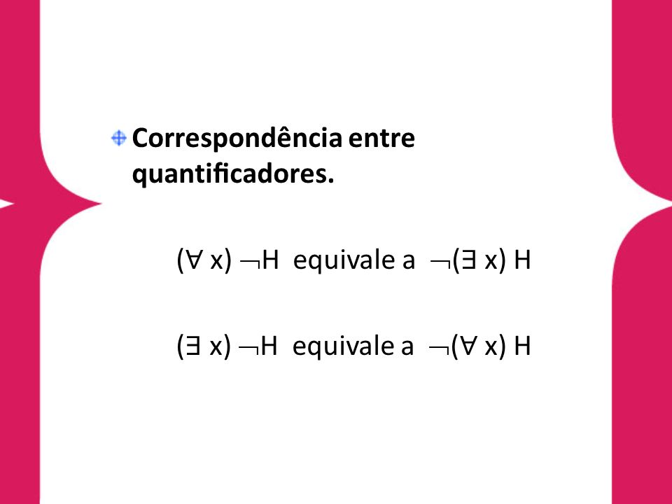 Correspondência entre quantificadores.