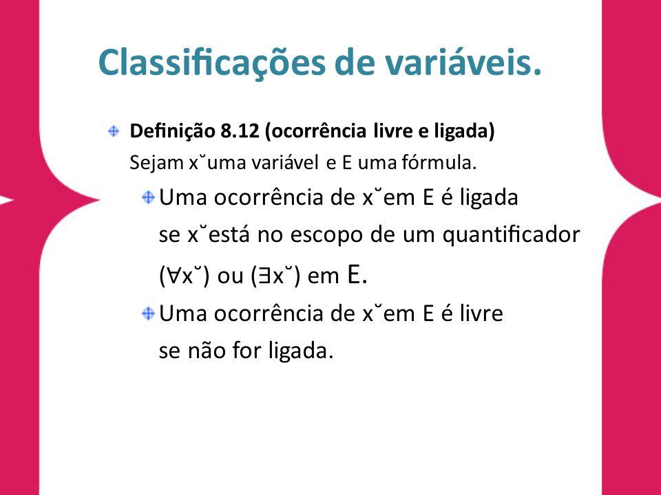 Classificações de variáveis.