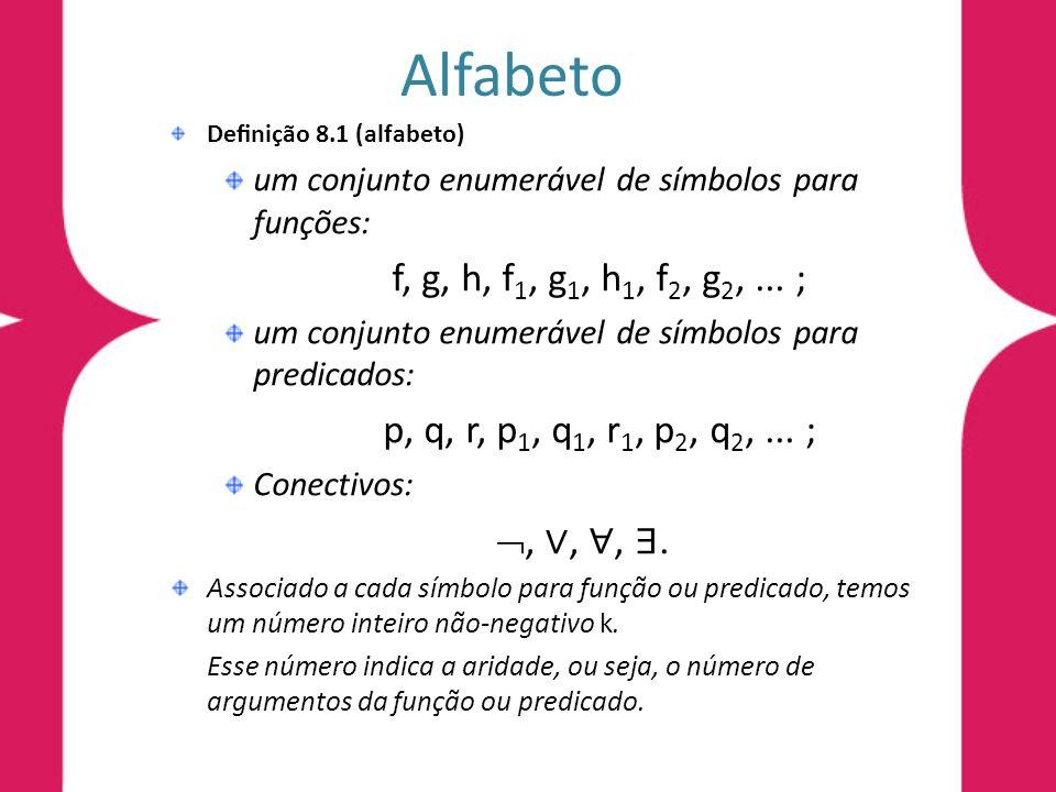 Alfabeto , ∨, ∀, ∃. um conjunto enumerável de símbolos para funções: