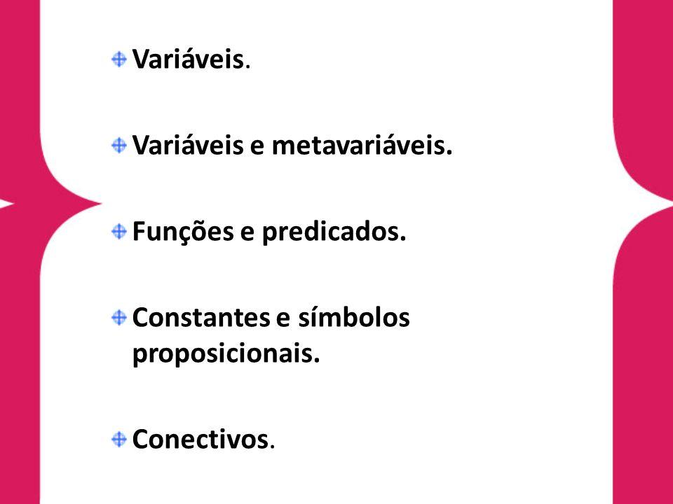 Variáveis. Variáveis e metavariáveis. Funções e predicados. Constantes e símbolos proposicionais.