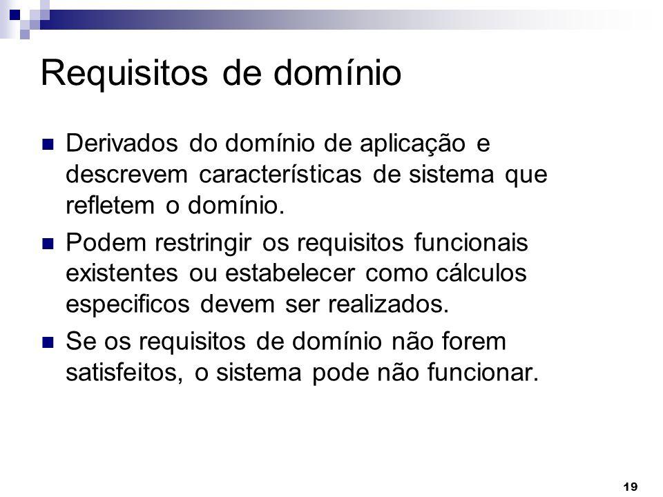 Requisitos de domínioDerivados do domínio de aplicação e descrevem características de sistema que refletem o domínio.