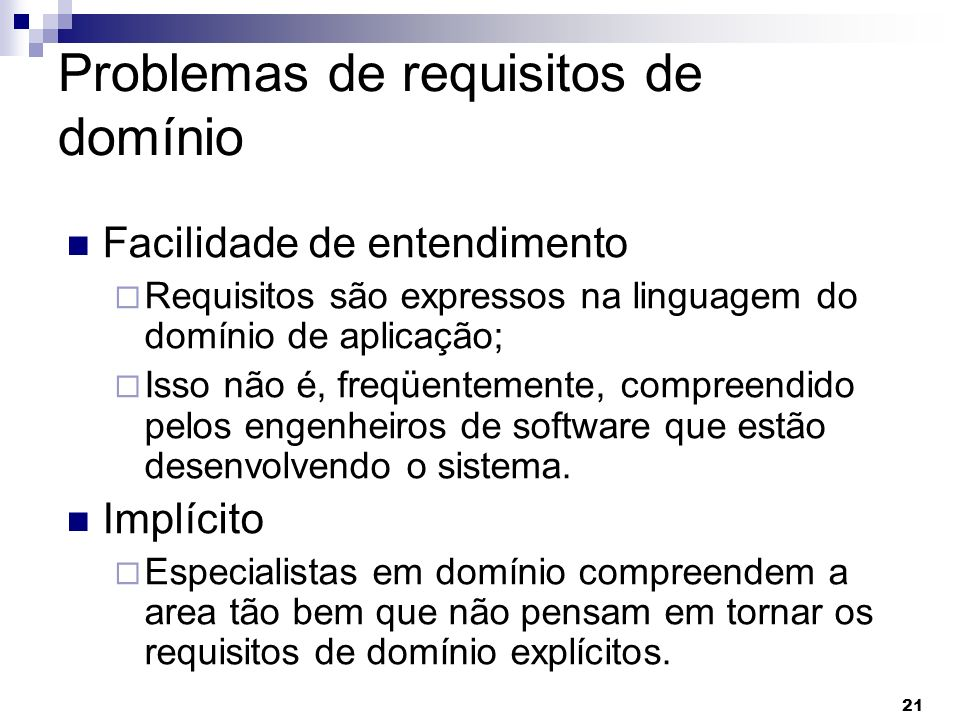 Problemas de requisitos de domínio