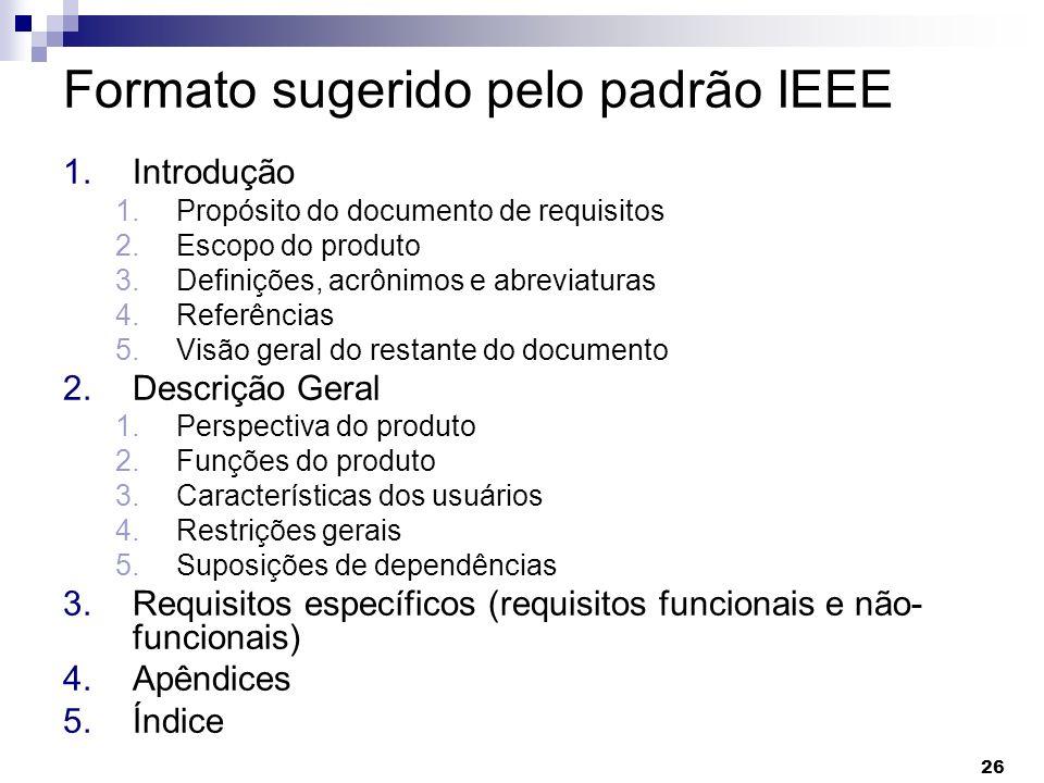 Formato sugerido pelo padrão IEEE