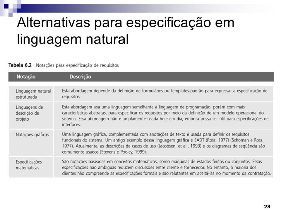 Alternativas para especificação em linguagem natural
