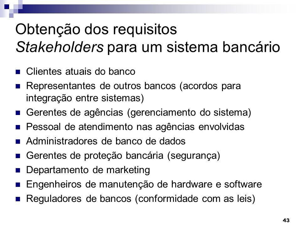 Obtenção dos requisitos Stakeholders para um sistema bancário