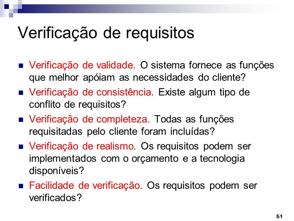 Verificação de requisitos