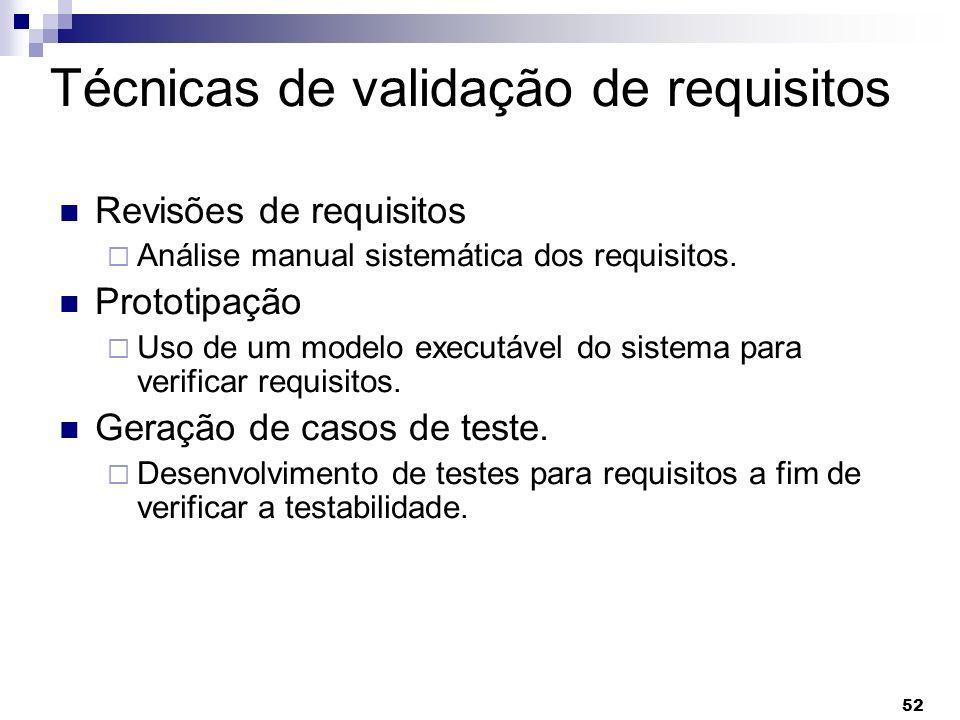 Técnicas de validação de requisitos