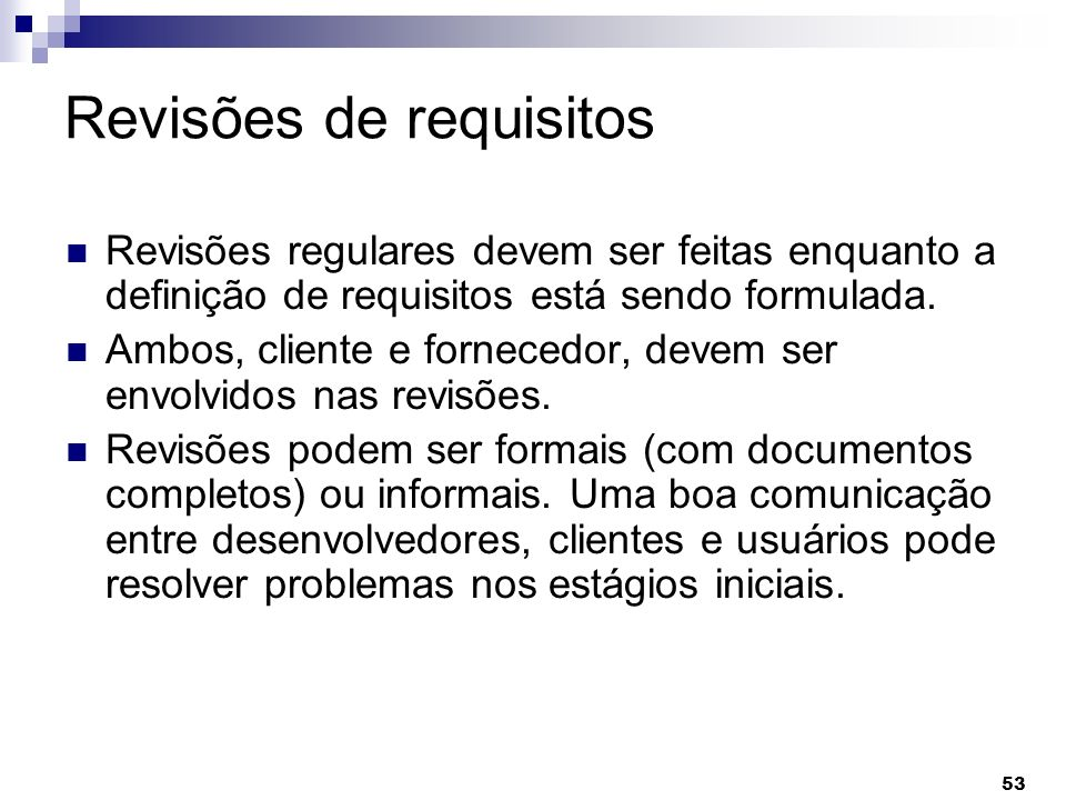 Revisões de requisitos
