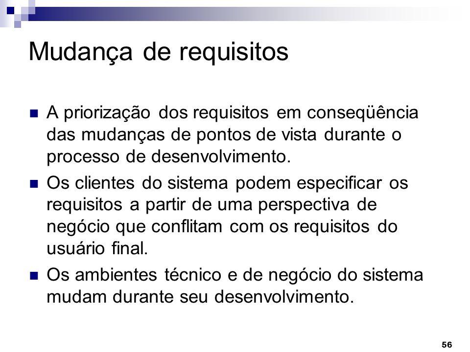 Mudança de requisitos A priorização dos requisitos em conseqüência das mudanças de pontos de vista durante o processo de desenvolvimento.