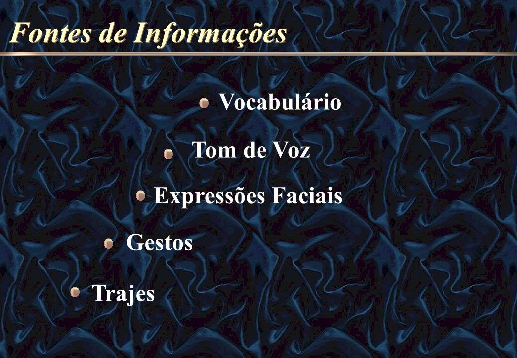 Fontes de Informações Vocabulário Tom de Voz Expressões Faciais Gestos