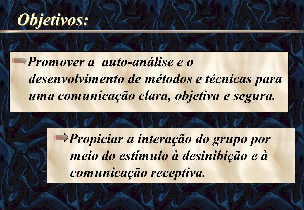 Objetivos: Promover a auto-análise e o desenvolvimento de métodos e técnicas para uma comunicação clara, objetiva e segura.