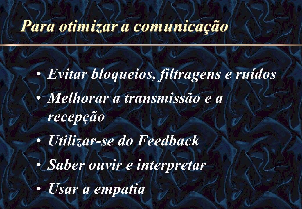 Para otimizar a comunicação