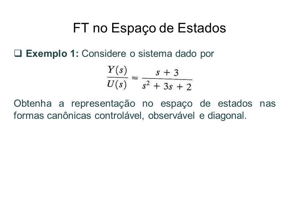 FT no Espaço de Estados Exemplo 1: Considere o sistema dado por