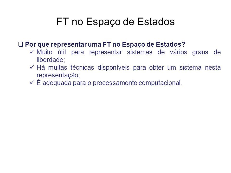 FT no Espaço de Estados Por que representar uma FT no Espaço de Estados Muito útil para representar sistemas de vários graus de liberdade;