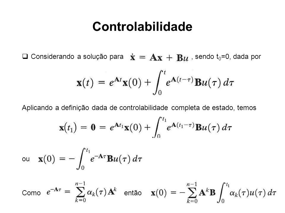 Controlabilidade Considerando a solução para , sendo t0=0, dada por