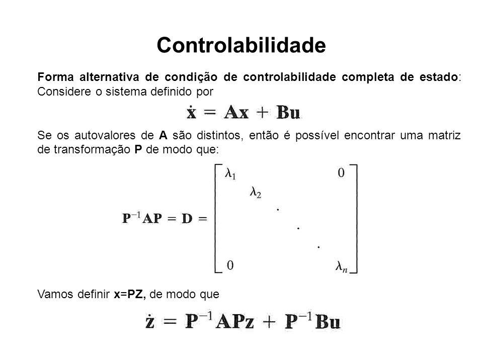 Controlabilidade Forma alternativa de condição de controlabilidade completa de estado: Considere o sistema definido por.