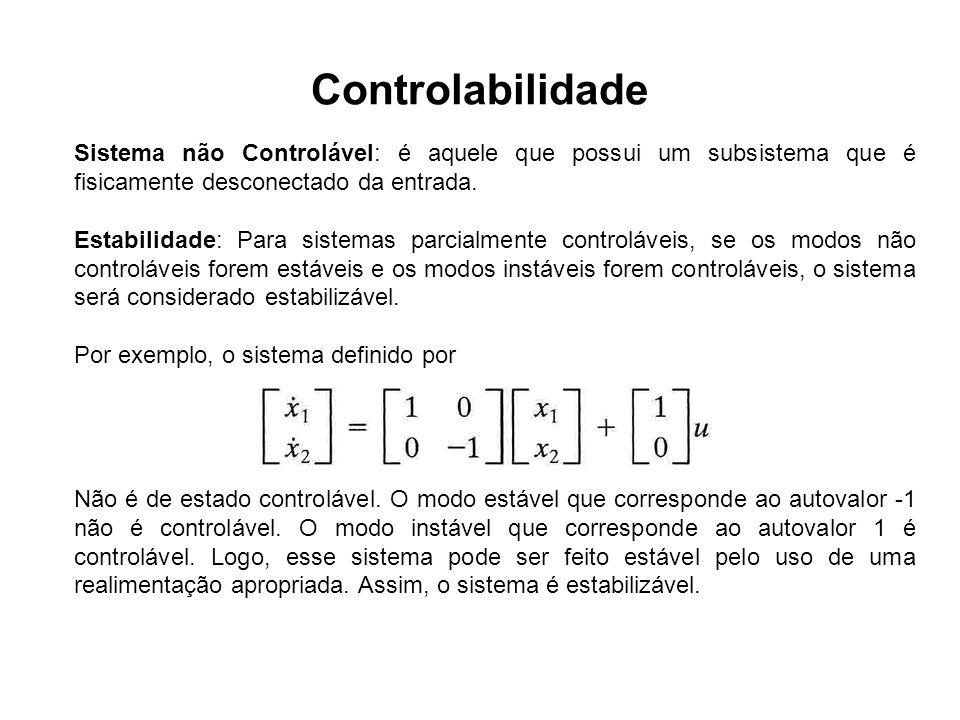 ControlabilidadeSistema não Controlável: é aquele que possui um subsistema que é fisicamente desconectado da entrada.