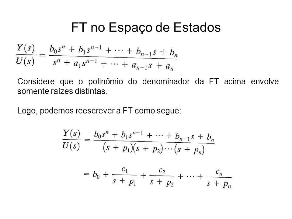 FT no Espaço de Estados Considere que o polinômio do denominador da FT acima envolve somente raízes distintas.