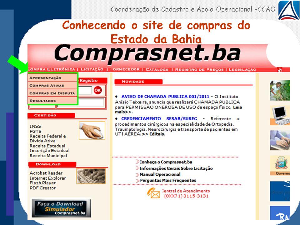 Conhecendo o site de compras do Estado da Bahia