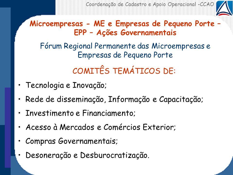 Tecnologia e Inovação; Rede de disseminação, Informação e Capacitação;