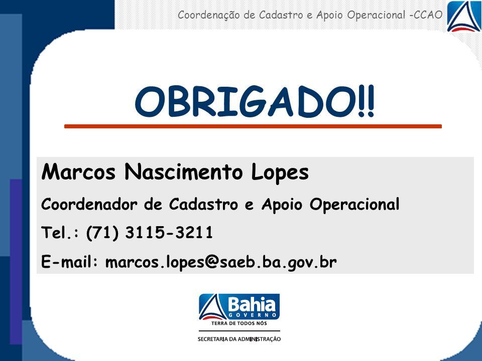 OBRIGADO!! Marcos Nascimento Lopes