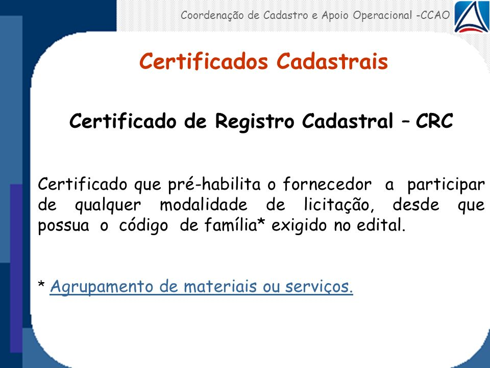 Certificados Cadastrais