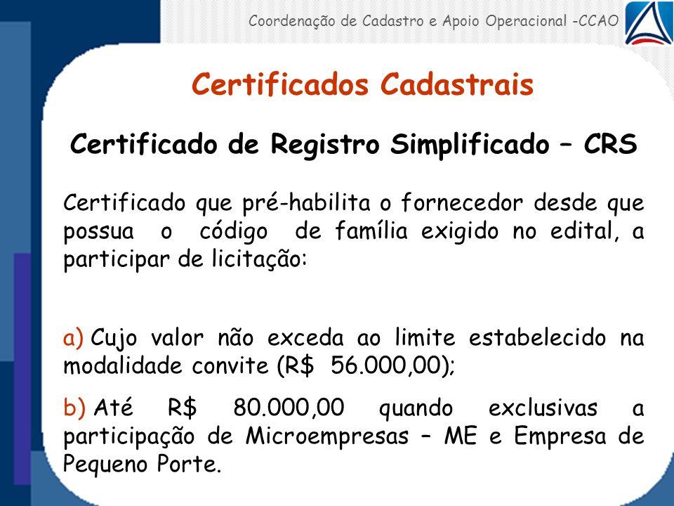 Certificados Cadastrais Certificado de Registro Simplificado – CRS