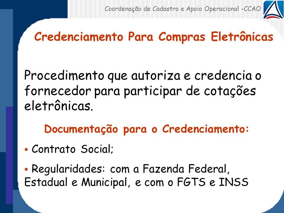 Coordenação de Cadastro e Apoio Operacional -CCAO