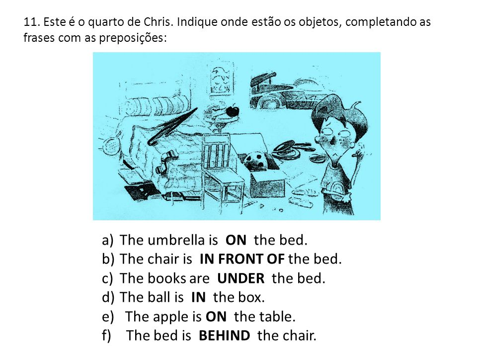 The umbrella is ON the bed. The chair is IN FRONT OF the bed.