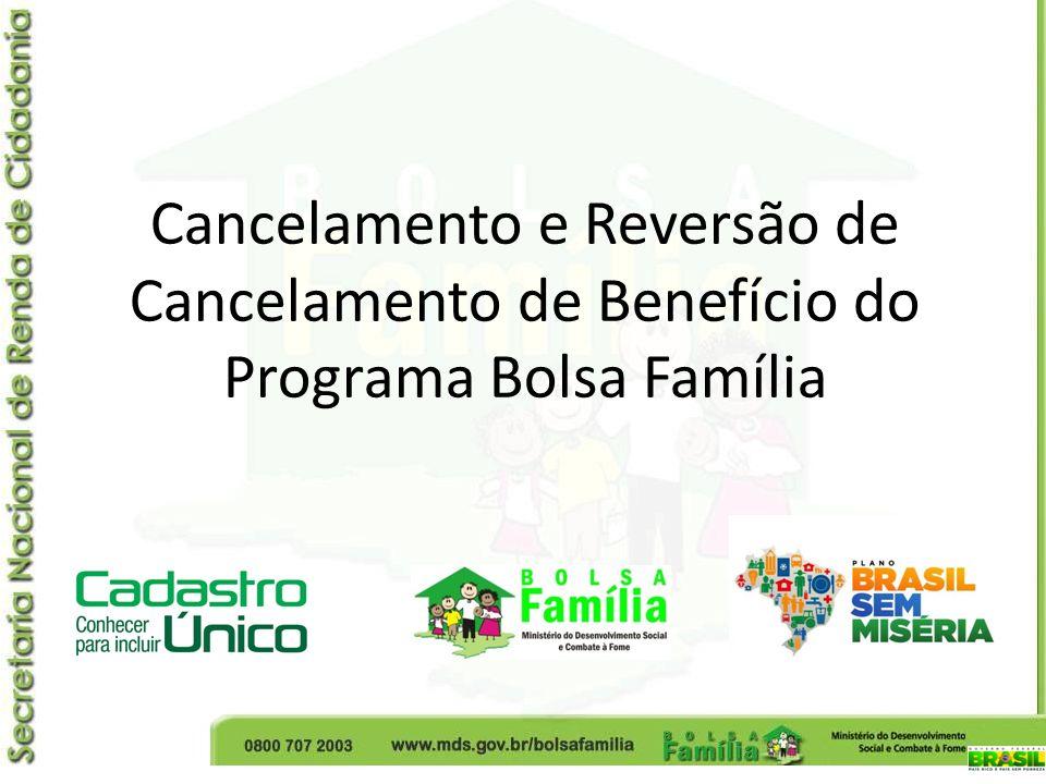 Cancelamento e Reversão de Cancelamento de Benefício do Programa Bolsa Família