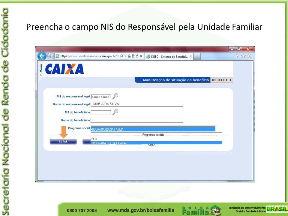 Preencha o campo NIS do Responsável pela Unidade Familiar