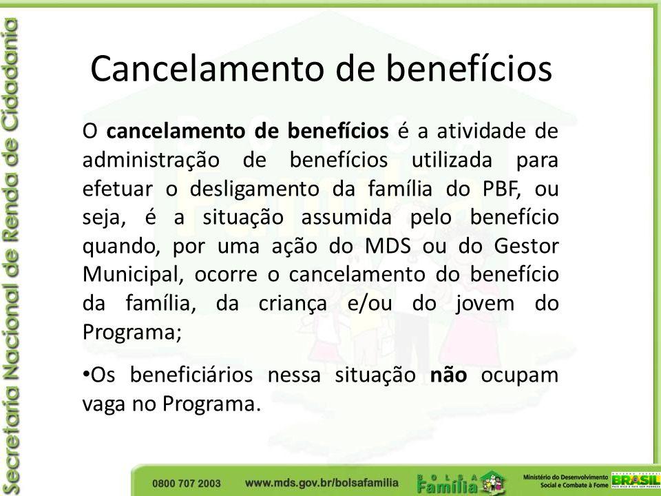 Cancelamento de benefícios