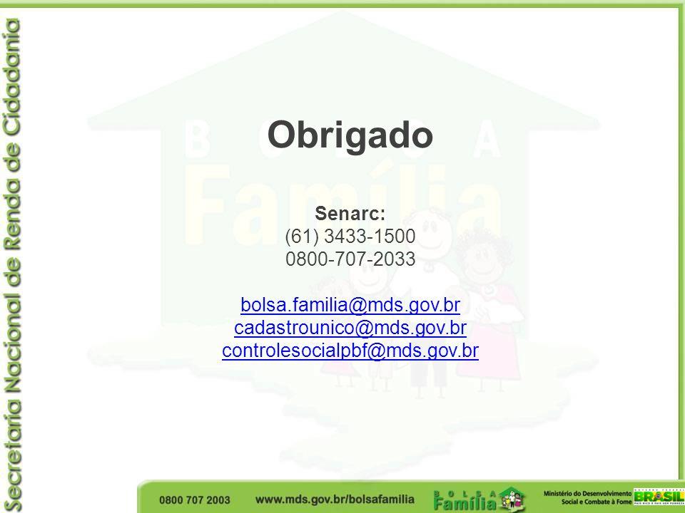 Obrigado Senarc: (61) 3433-1500 0800-707-2033 bolsa.familia@mds.gov.br