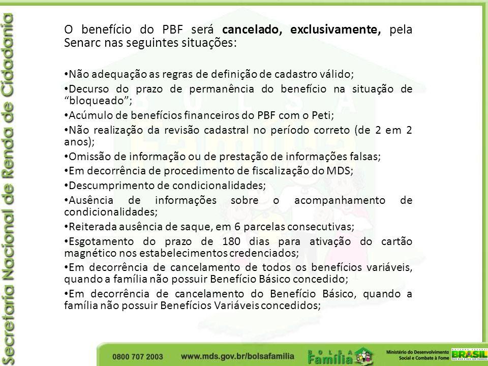 O benefício do PBF será cancelado, exclusivamente, pela Senarc nas seguintes situações: