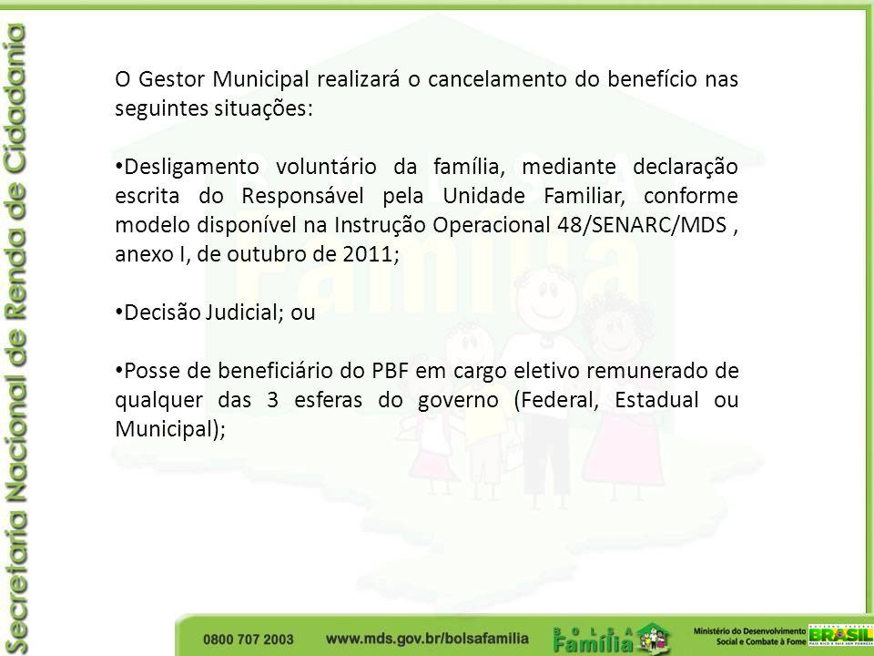 O Gestor Municipal realizará o cancelamento do benefício nas seguintes situações:
