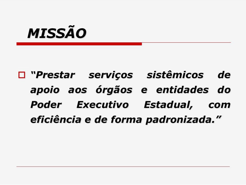 MISSÃO Prestar serviços sistêmicos de apoio aos órgãos e entidades do Poder Executivo Estadual, com eficiência e de forma padronizada.