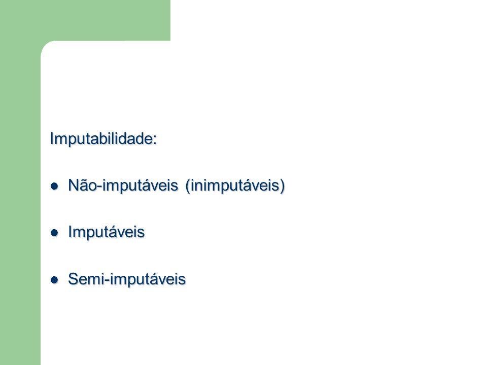 Imputabilidade: Não-imputáveis (inimputáveis) Imputáveis Semi-imputáveis
