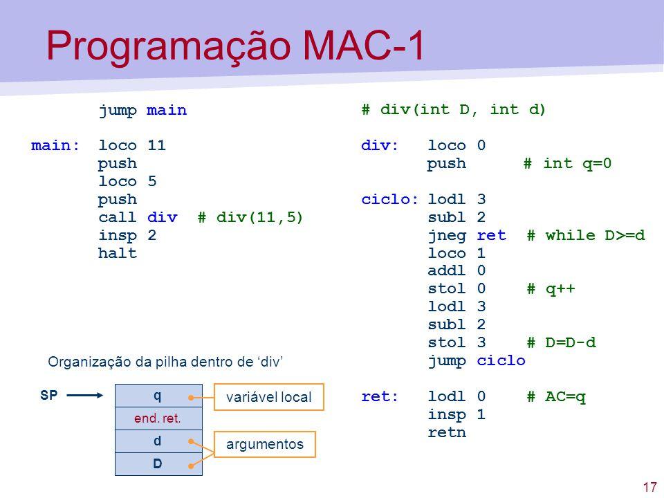 Aula 4 sum rio linguagem assembly do mac 1 fun es e for Division 2 table 98 99