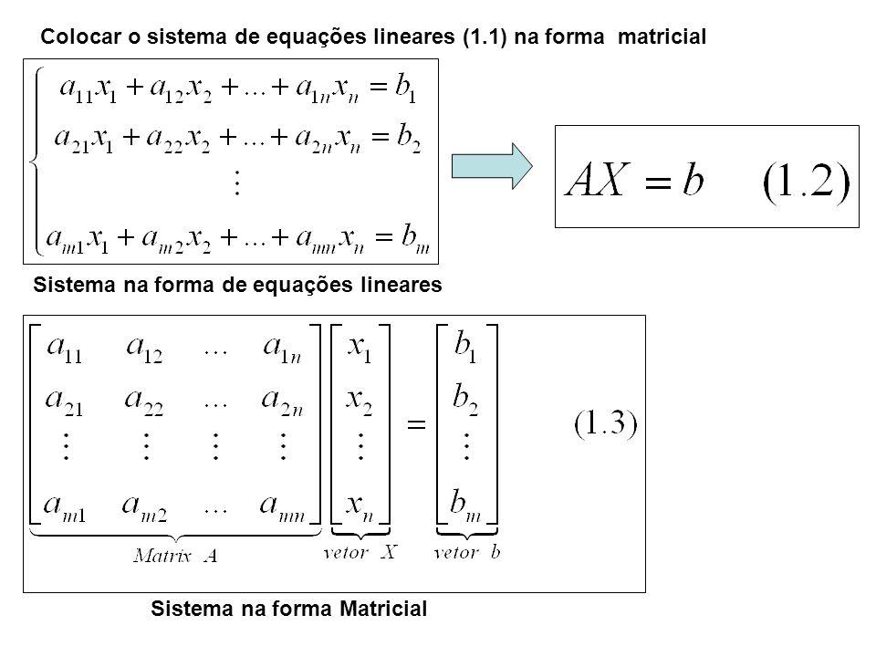 Colocar o sistema de equações lineares (1.1) na forma matricial