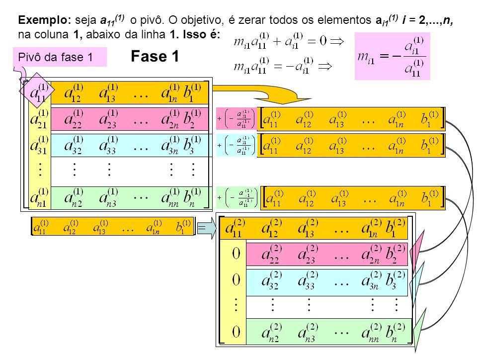 Exemplo: seja a11(1) o pivô