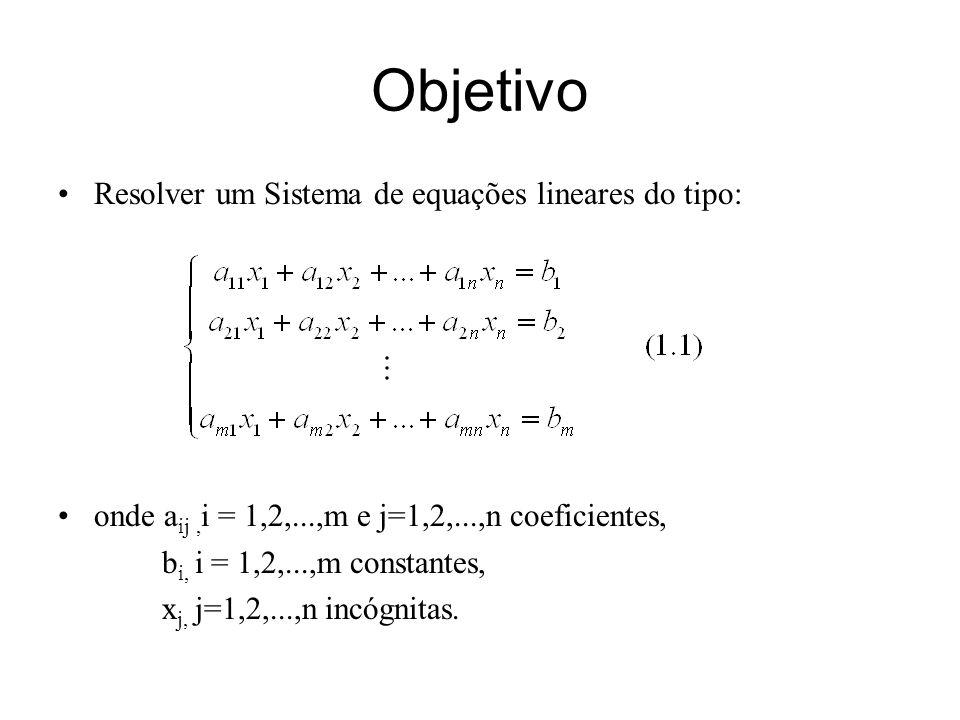 Objetivo Resolver um Sistema de equações lineares do tipo: